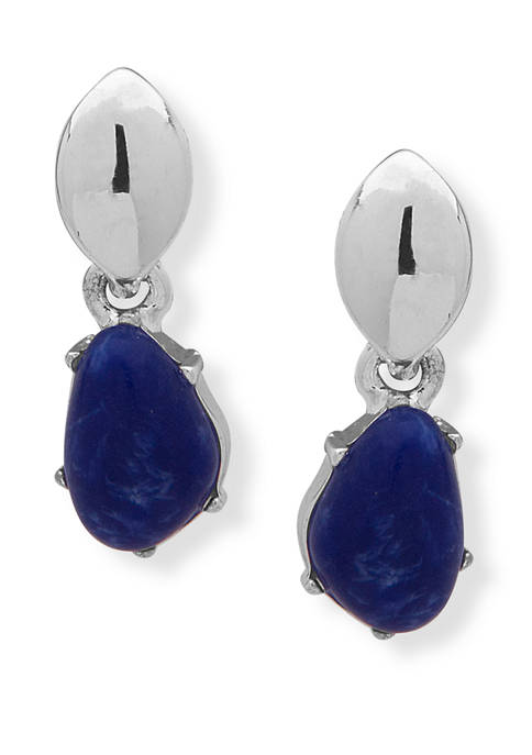 Chaps Silver Tone Blue Double Drop Post Earrings