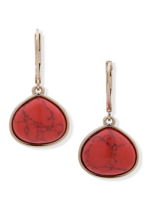 Gold Tone Coral Small Drop Leverback Earrings