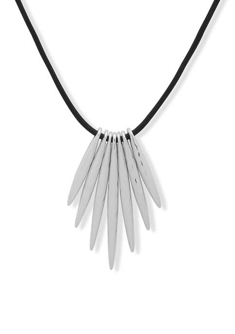 28 Inch Silver Tone Leather Stick Pendant Necklace