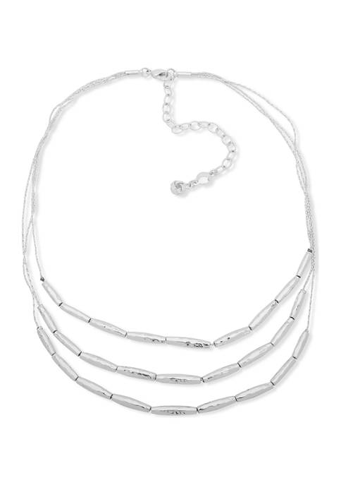 Chaps Silver Tone Three Row Frontal Necklace