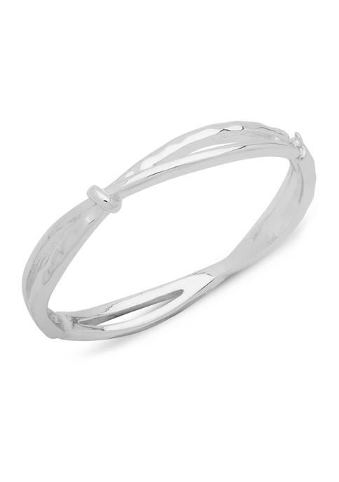Chaps Silver Tone Criss Cross Cuff Bracelet