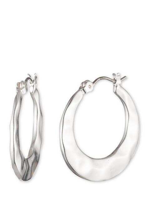 Chaps Silver Tone Click Top Hoop Earrings