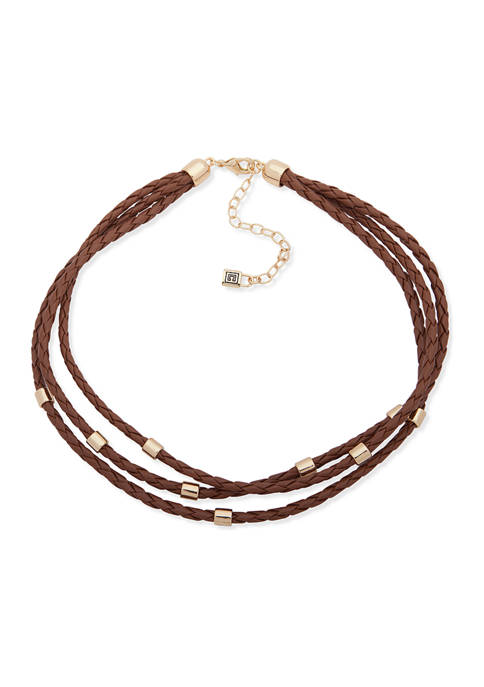 Chaps Gold Tone Brown Multi Row Necklace