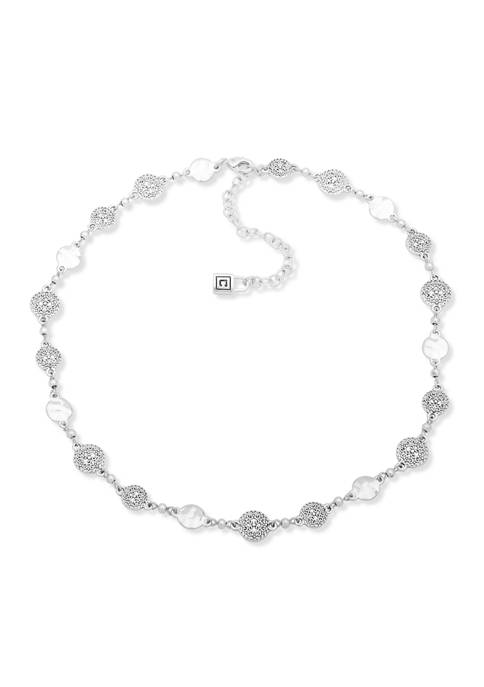 Chaps Silver Tone Worn Collar Necklace