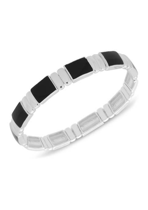 Chaps Silver Tone Jet Small Watchband Bracelet