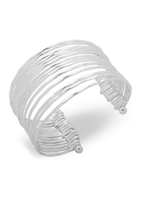 Chaps Silver Tone Multi Row Wire Cuff Bracelet