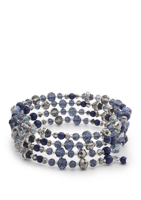 Chaps Silver Tone Blue Stretch Coil Bracelet