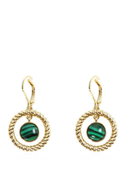 Chaps Gold Tone Green Small Orbital Drop Earrings
