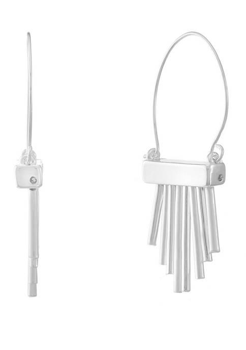 Chaps Silver Tone Shaky Bar Drop Earrings