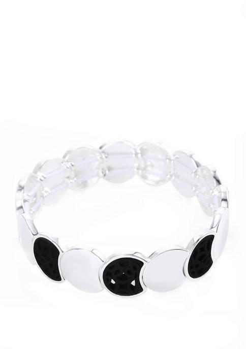 Chaps Silver Tone Jet Circle Stretch Bracelet