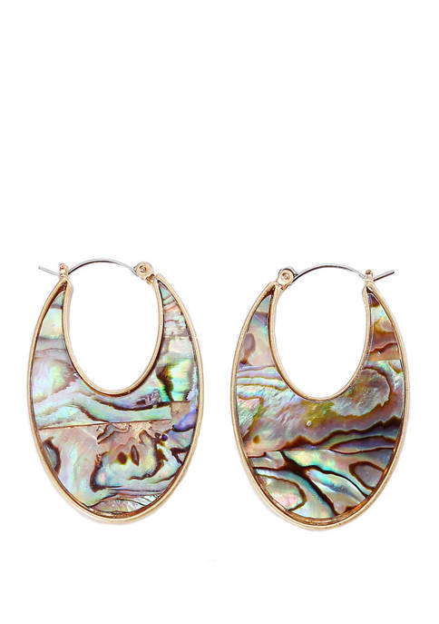 Chaps Gold Tone Abalone Large Chubby Hoop Earrings