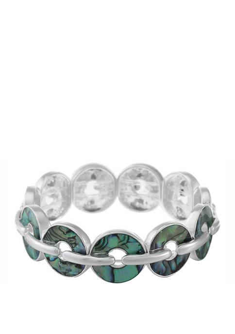 Chaps Silver Tone Abalone Circle Link Stretch Bracelet
