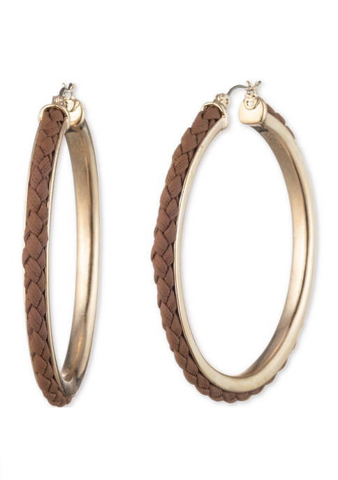 Chaps Gold Tone Brown Large Click Top Hoop