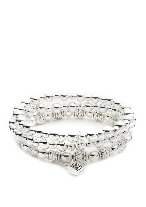 Chaps Silver Tone Multi Row Knot Stretch Bracelet