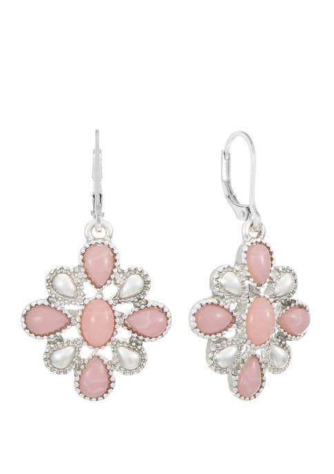 Chaps Silver Tone Pink Flower Drop Earrings