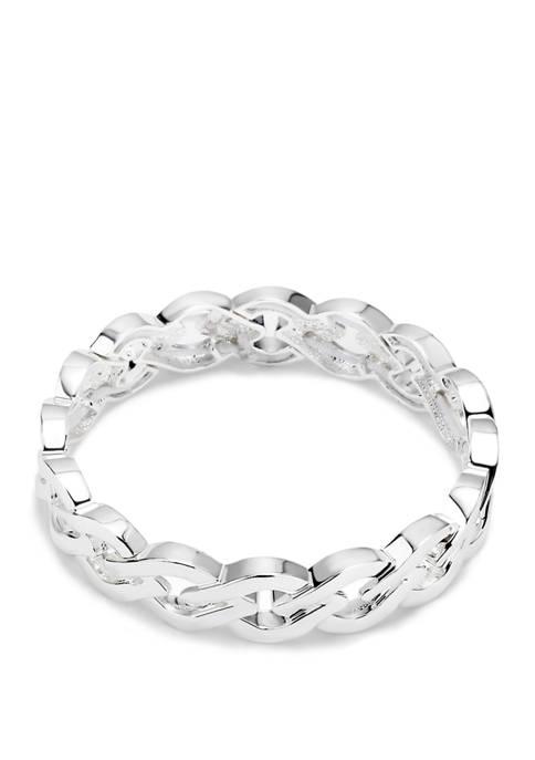 Silver Tone Open Link Stretch Bracelet