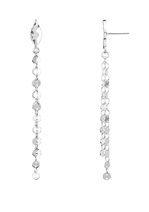 Chaps Silver Tone Linear Chain Earrings