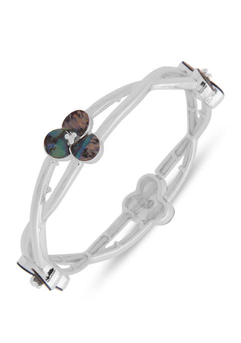 Chaps Silver Tone Abalone Twist Flower Stretch Bracelet