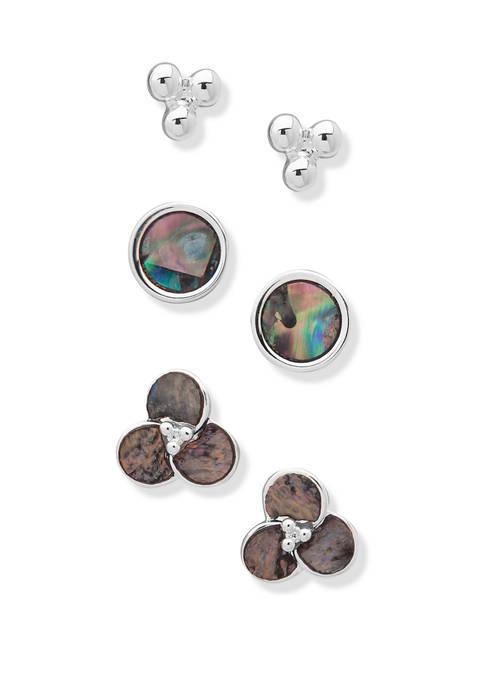 Chaps Silver Tone Abalone Flower Stud Trio Earrings