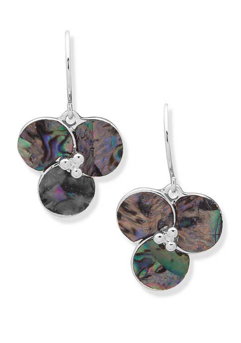 Chaps Silver Tone Abalone Flower Wire Drop earrings