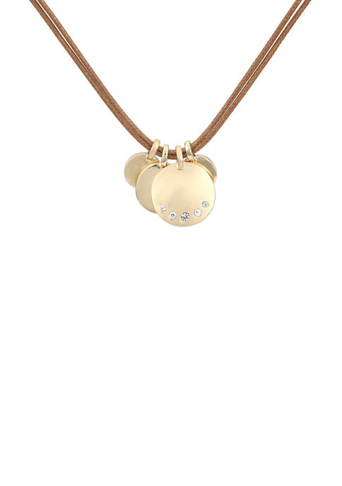 Chaps 28 Inch Gold Tone Charm Pendant Necklace