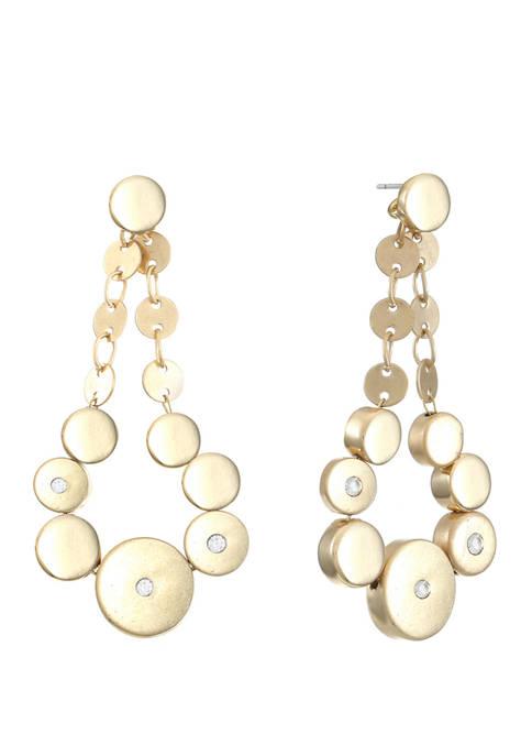 Chaps Gold Tone Linear Drop Post Earrings