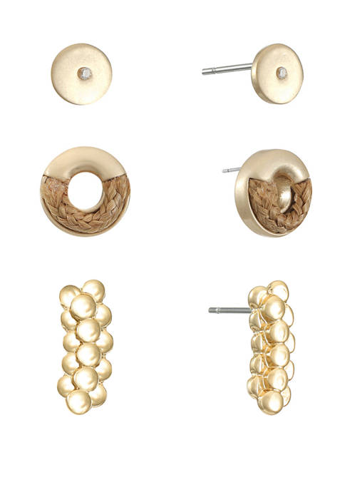 Chaps Gold Tone Stud Trio Earrings