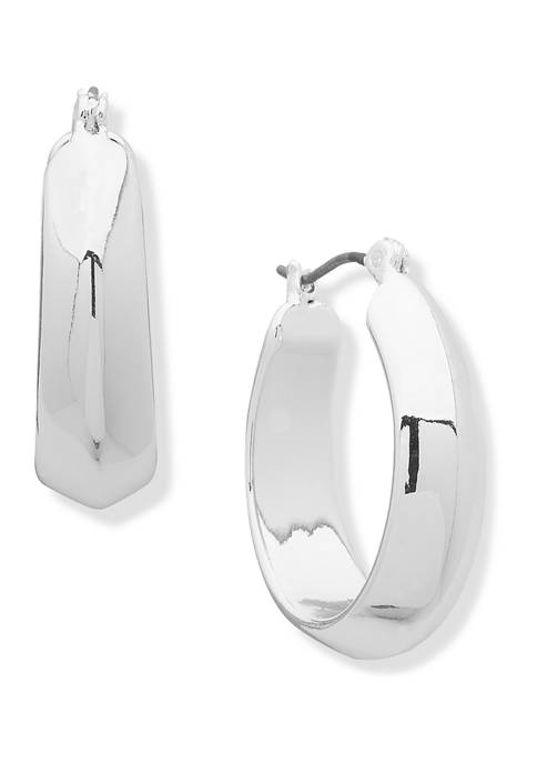 Chaps Silver-Tone Small Oval Click Hoop Earrings
