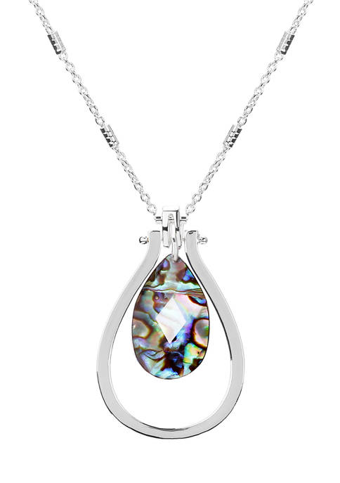 Chaps Silver Tone 32 Inch Teardrop Pendant Necklace