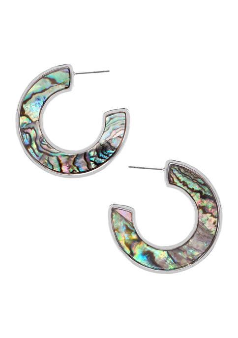 Chaps Silver Tone Large C Hoop Earrings