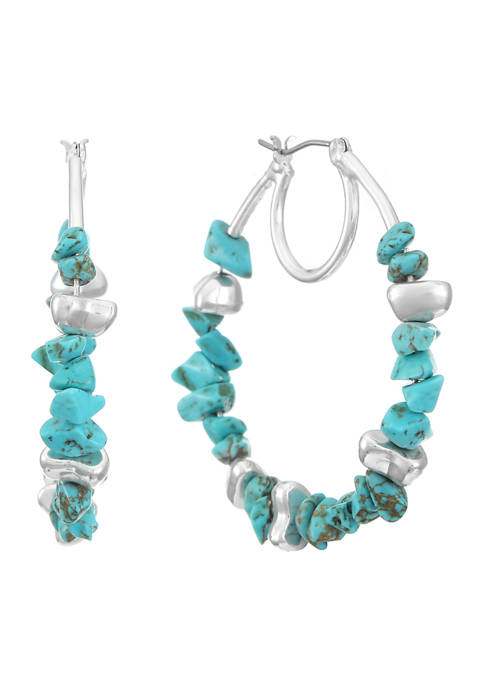 Silver Tone Turquoise Large C Hoop Earrings