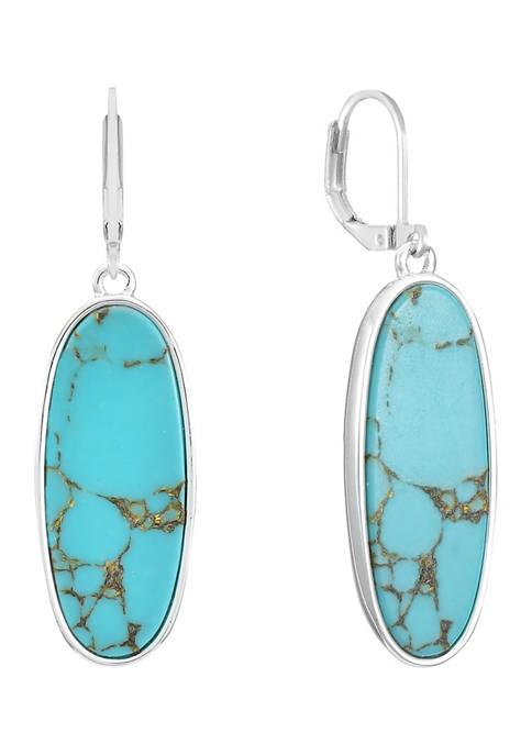 Silver Tone Oval Drop Earrings