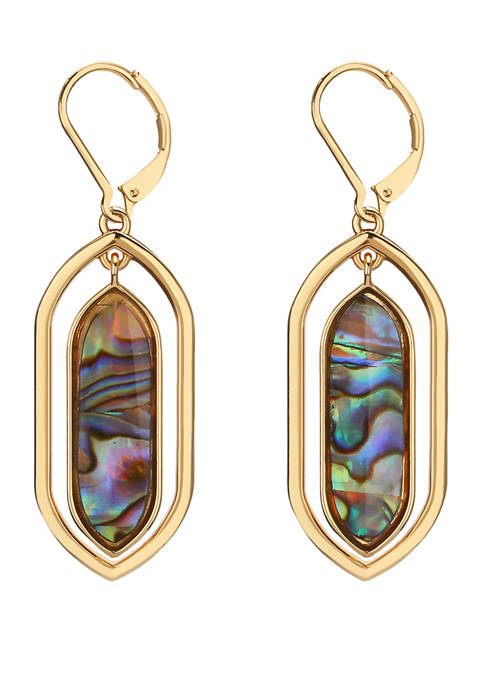 Chaps Gold Tone Abalone Orbital Drop Earrings