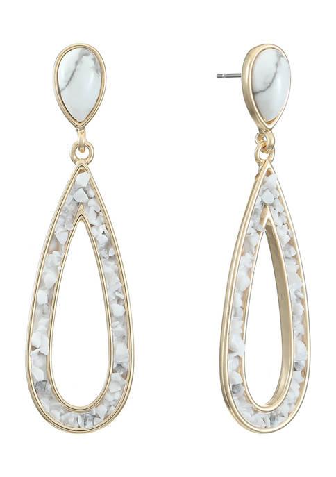 Gold Tone Double Drop Post Earrings