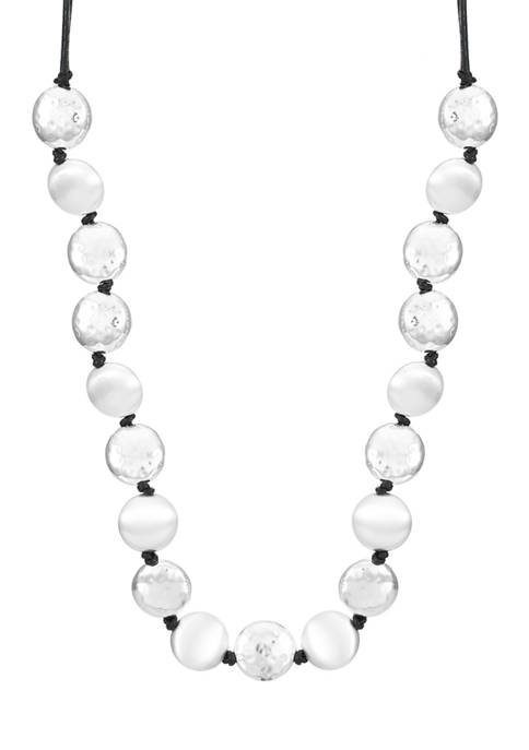 Silver Tone 36 Inch Knot Strand Necklace