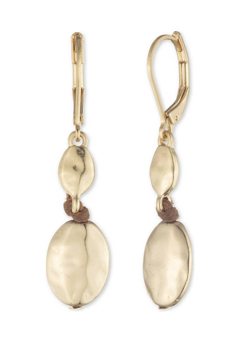Chaps Gold Tone Small Double Drop Earrings