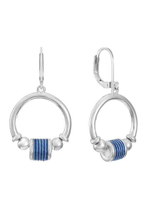 Chaps Silver Tone Circle Drop Earrings