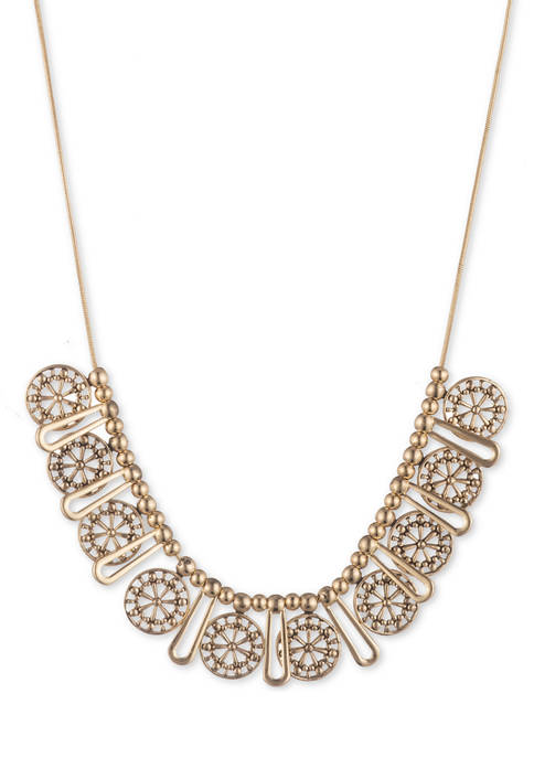 Gold Tone 16 Inch Circle Frontal Necklace