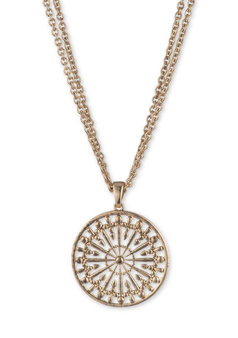 Chaps Gold Tone 16 Inch Circle Pendant Necklace