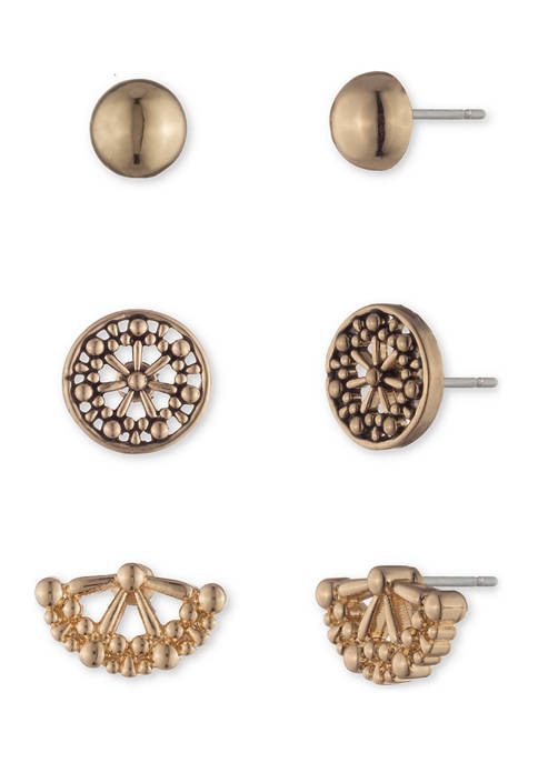 Chaps Gold Tone Circle Stud Earrings Trio
