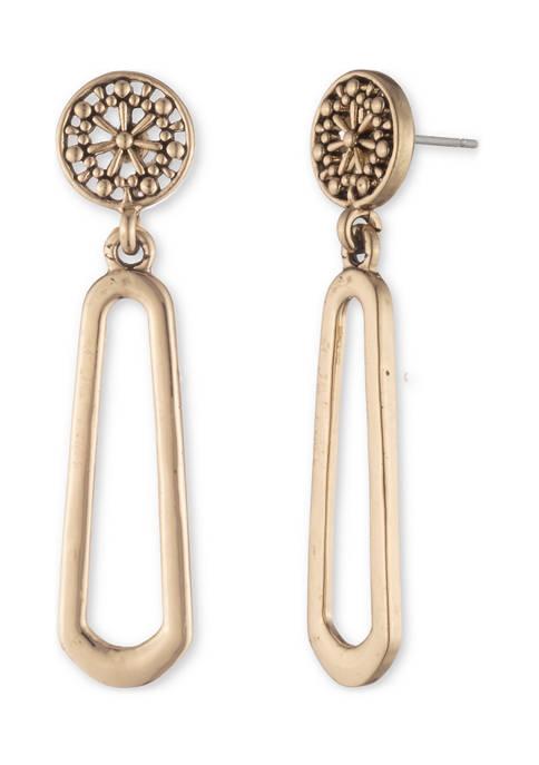 Chaps Gold Tone Double Drop Post Earrings
