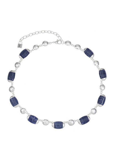 Chaps Silver Tone Oval Collar Necklace