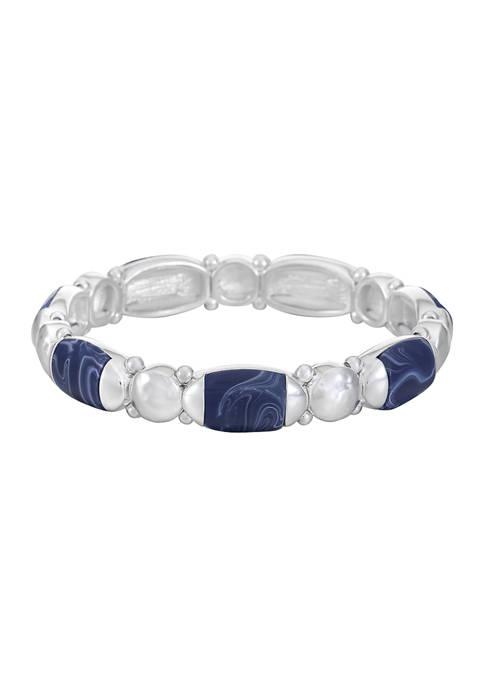 Chaps Silver Tone Oval Stretch Bracelet