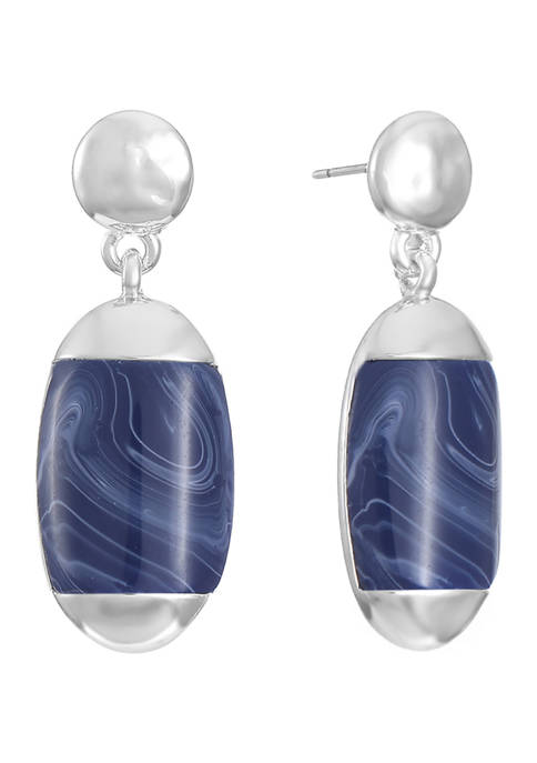 Silver Tone Small Double Drop Post Earrings