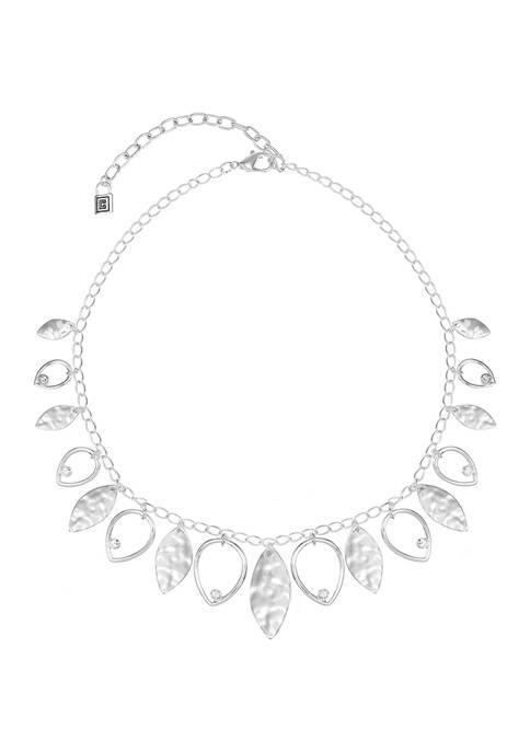 Chaps Silver Tone Shaky Navette Frontal Necklace