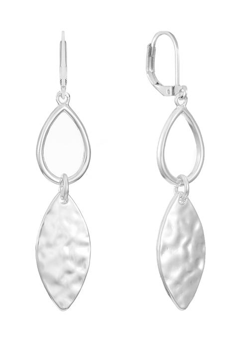 Chaps Silver Tone Double Drop Earrings