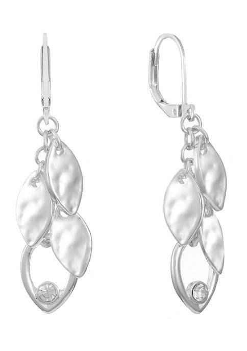 Chaps Silver Tone Shaky Drop Lever Back Earrings