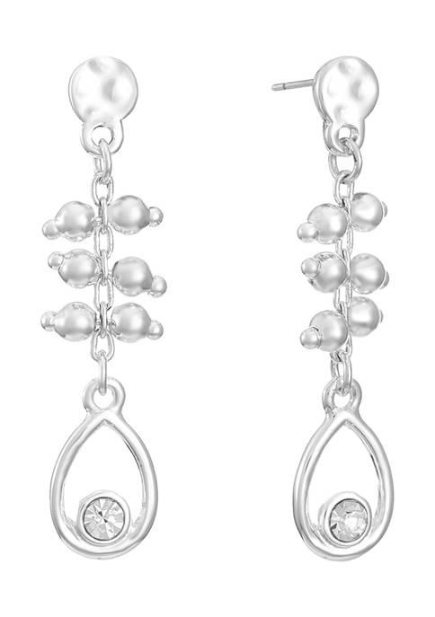 Chaps Silver Tone Small Linear Drop Post Earrings