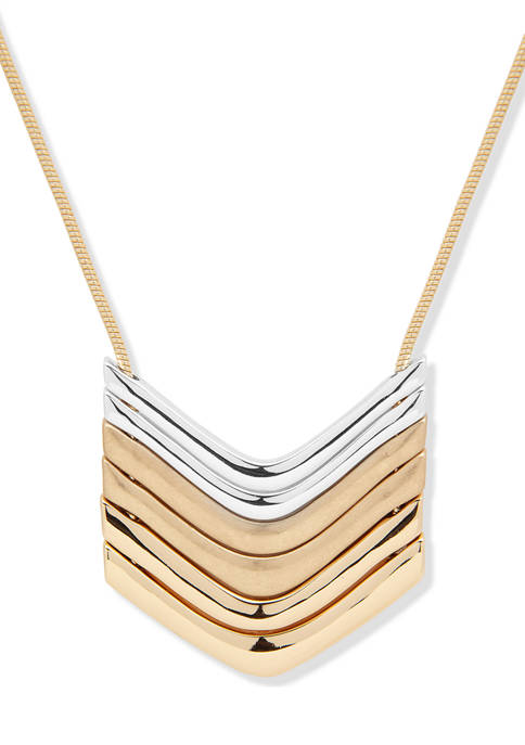 Two Tone 32 Inch V Pendant Necklace