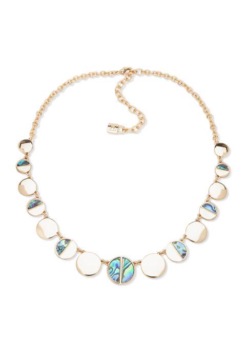 Gold Tone Circle Collar Necklace